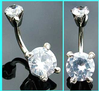 Small Sterling Silver Clear Crystal Belly Bar