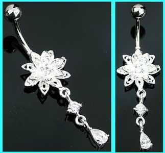 Clear Flower Dangle Sterling Silver Belly Bar