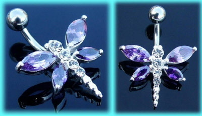Silver Belly Rings Fuchsia Multi Crystal Gemstone Stylish Apple Dangling 925 Sterling Body Jewelry
