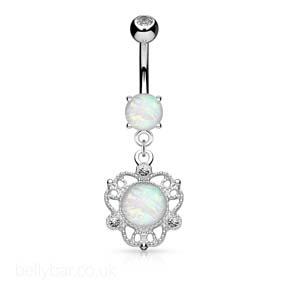 Opal Shimmer Dangle Belly Bar
