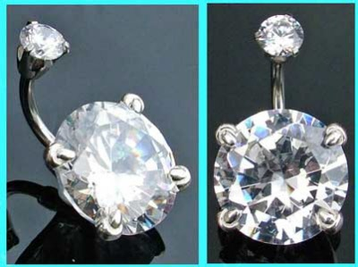 Silver Belly Bar With Large Round Crystal