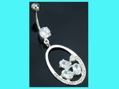 Dark Blue CZ Crystal Stone Square Flower with Round and Teardrop Dangling 925 Sterling Silver Belly Ring Body Jewelry
