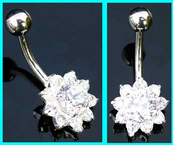 Sterling Silver Belly Bar With Small Crystal Flower
