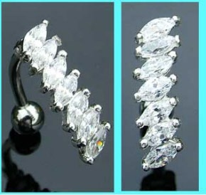 Sterling Silver Clear Crystal Reverse Belly Bar
